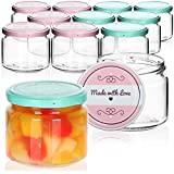 com-four 12x Tarros de Cristal para Conservas con Tapa de Rosca'Made with love' - TO Ø 82 mm - 260 ml